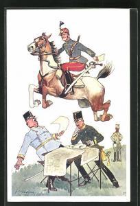 Künstler-AK Fritz Schönpflug: Soldat zu Pferde beim Sprung