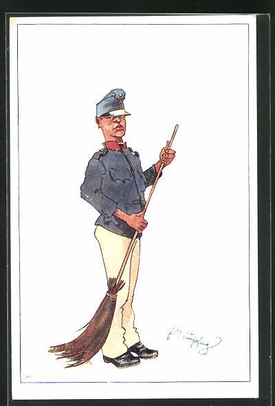 Künstler-AK Fritz Schönpflug: Soldat mit Besen beim Revierreinigen 0