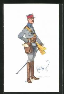 Künstler-AK Fritz Schönpflug: Soldat in Uniform mit Kartentasche