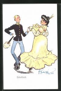 Künstler-AK Fritz Schönpflug: Soldat mit eleganter Dame beim schottischen Tanz