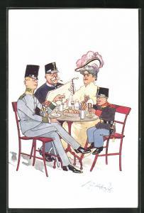 Künstler-AK Fritz Schönpflug: Soldaten mit hübscher Frau am Tisch sitzend