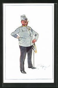 Künstler-AK Fritz Schönpflug: Dicker Soldat in Uniform