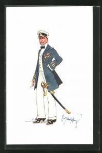 Künstler-AK Fritz Schönpflug: Soldat in Uniform mit vielen Orden