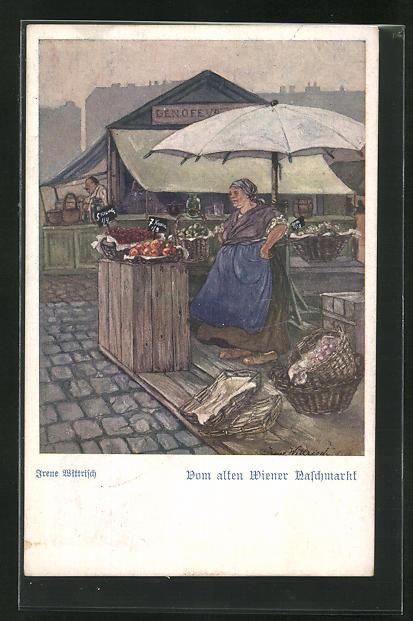 AK Wien, Marktstand auf dem alten Naschmarkt 0