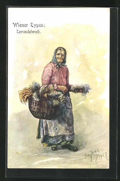 AK Wiener Typen, Lavendelweib mit gefüllten Korb 0
