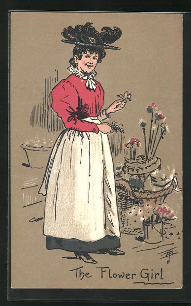 AK London, The Flower Girl, Blumenfrau 0