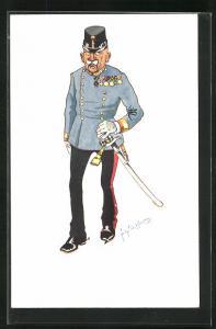 Künstler-AK Fritz Schönpflug: Soldat in Uniform mit Orden