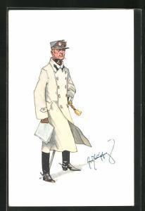 Künstler-AK Fritz Schönpflug: Rauchender Soldat in Uniform