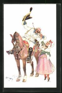 Künstler-AK Fritz Schönpflug: Soldat zu Pferde beim Handkuss bei seiner Frau