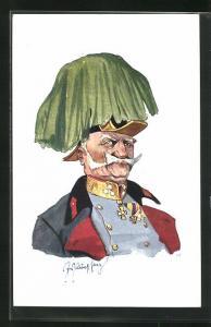 Künstler-AK Fritz Schönpflug: Porträt eines Soldaten in toller Uniform