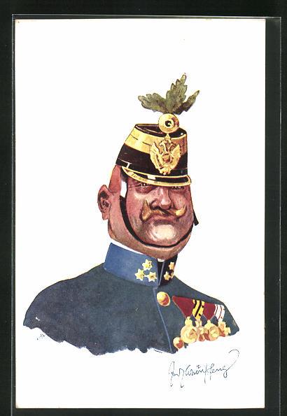 Künstler-AK Fritz Schönpflug: Soldat in Uniform mit Orden 0