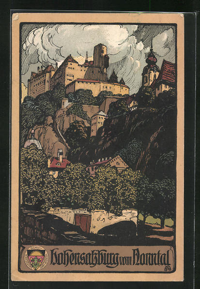 Steindruck-AK Salzburg, Hohensalzburg vom Nonntal aus gesehen 0
