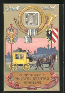 AK Nürnberg, 27. Deutscher Philatelisten-Tag 1921, Postkutsche, Ganzsache