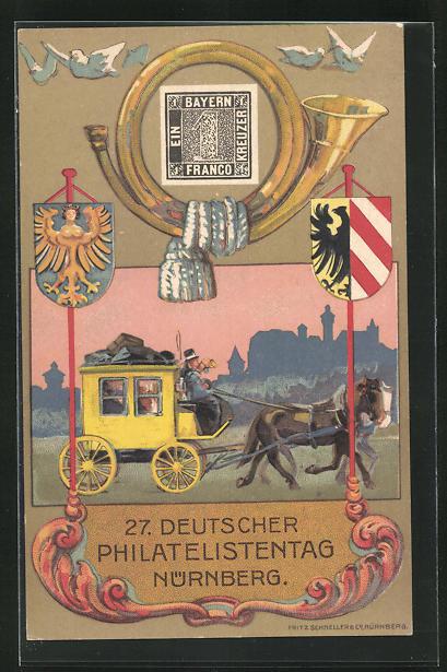 AK Nürnberg, 27. Deutscher Philatelisten-Tag 1921, Postkutsche, Ganzsache 0