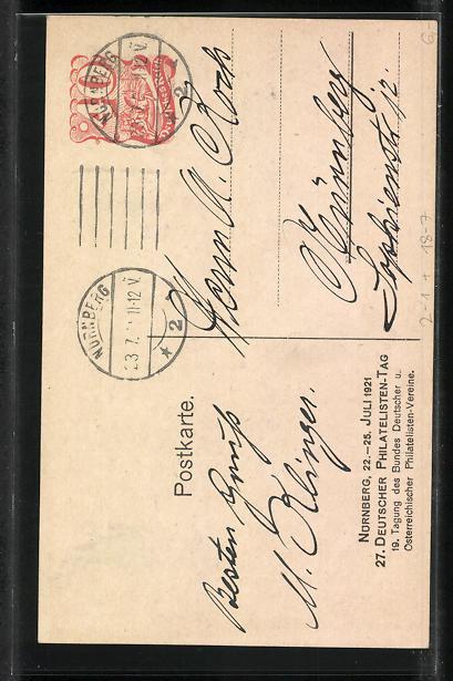 AK Nürnberg, 27. Deutscher Philatelisten-Tag 1921, Postkutsche, Ganzsache 1