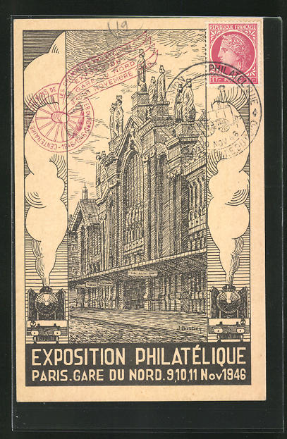 AK Paris, Gare du Nord, Ausstellung Philatelie 1946 0