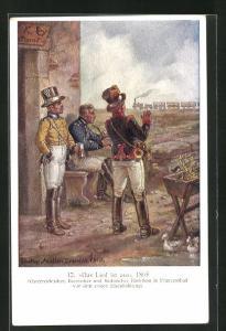 Künstler-AK Österreichischer, Bayrischer und Sächsischer Postillion in Franzensbad 1865