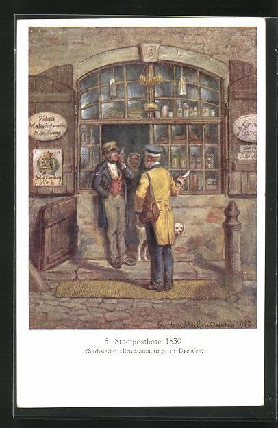 Künstler-AK Stadtpostbote 1830 mit Brief 0