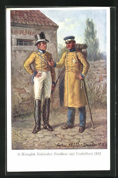 Künstler-AK Königlich Sächsischer Postillion und Postfussbote 1833 0