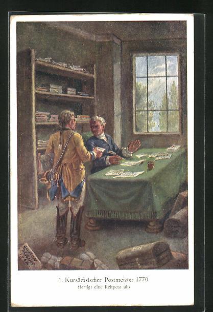 Künstler-AK Kursächsischer Postmeister 1770 0