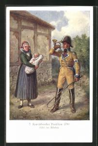 Künstler-AK Kursächsischer Postillion 1780 bläst zur Abfahrt