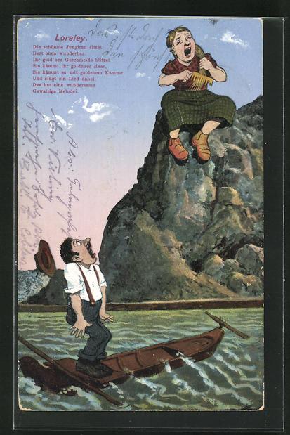 AK Loreley sich die Haare kämmend auf einem Felsen sitzend, Die schönste Jungfrau sitzet... 0
