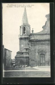 AK Lambesc, Tremblement de terre du 11 juin 1909, Ce qu`il reste du clocher, Erdbeben
