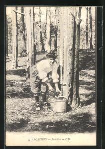 AK Arcachon, Résinière, Arbeiterin in der Forstwirtschaft