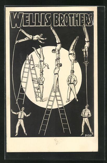 AK Akrobatengruppe Wellis Brothers präsentieren ihre Kunststücke mit Leitern 0