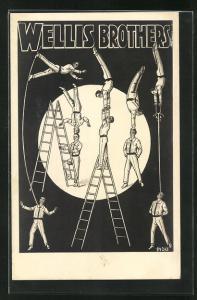 AK Akrobatengruppe Wellis Brothers präsentieren ihre Kunststücke mit Leitern