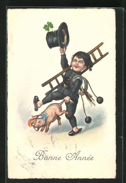 AK Schornsteinfeger mit Glücksschwein und Klee, Bonne Année 0