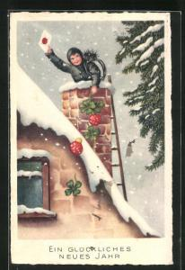 AK Junger Schornsteinfeger hält einen Brief in der Hand und guckt aus dem Schornstein heraus, Glückliches neues Jahr!