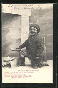 AK Fröhlicher Schornsteinfeger stellt seine Holzschuhe in den Kamin