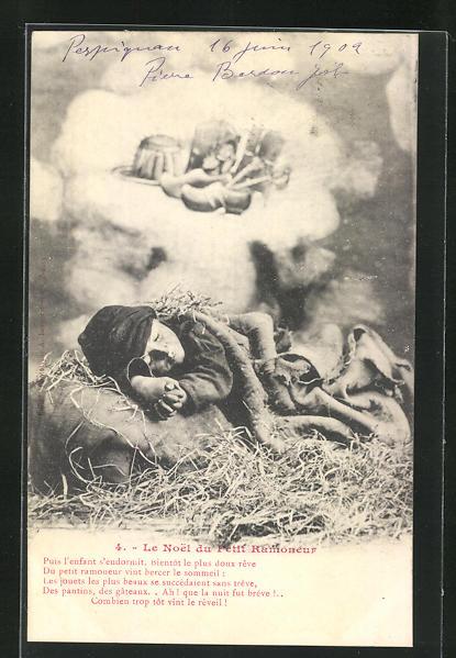 AK Junger Schornsteinfeger liegt schlafend im Stroh und träumt von schönen Geschenken 0