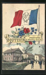 AK Soldaten an der Grenze, Frontière de Nouveau Saales, Französische Flagge