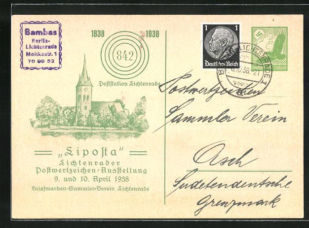AK Lichtenrade, Postwertzeichen-Ausstellung 1938, Stadtansicht, Ganzsache 0