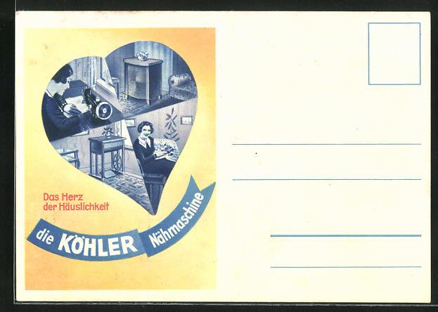 AK Frau an der Köhler-Nähmaschine, Reklame 0