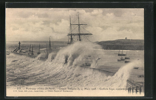 AK Portrieux, Grande Tempete du 27 Mars 1906, Goelette Saga couverte par les vagues, Unwetter 0
