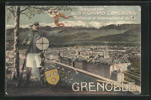 AK Grenoble, 18me Grand Concours National et International de Tir, Schütze mit Zielscheibe vor Stadtansicht 0