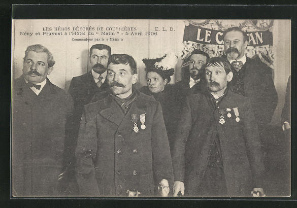 AK Courrières, Die Helden des Grubenunglücks von 1906 erhalten Auszeichnungen, Katastrophe 0