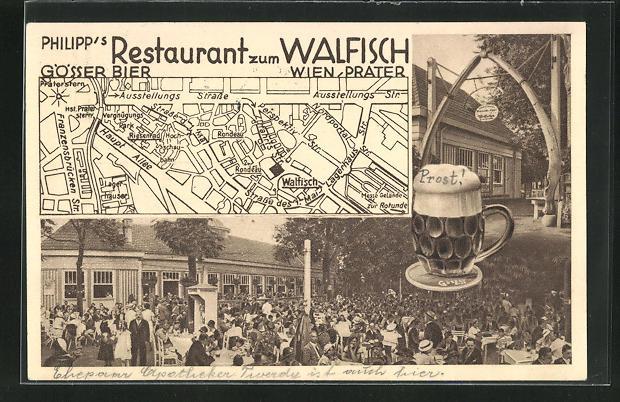 AK Wien, Wiener Prater, Philipp`s Restaurant zum Walfisch, Strassenkarte mit Standort 0