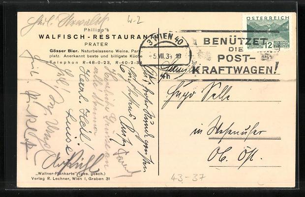 AK Wien, Wiener Prater, Philipp`s Restaurant zum Walfisch, Strassenkarte mit Standort 1