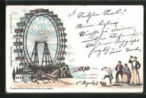 Lithographie Wien, Wiener Prater, Besucher betrachten das Riesenrad