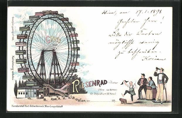 Lithographie Wien, Wiener Prater, Besucher bestaunen das Riesenrad 0