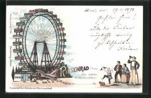 Lithographie Wien, Wiener Prater, Besucher bestaunen das Riesenrad