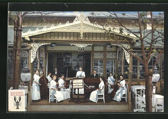 AK Wien, Wiener Prater, Restaurant J. Prohaska, Prater 37, Eingangsbereich mit Musikkapelle 0