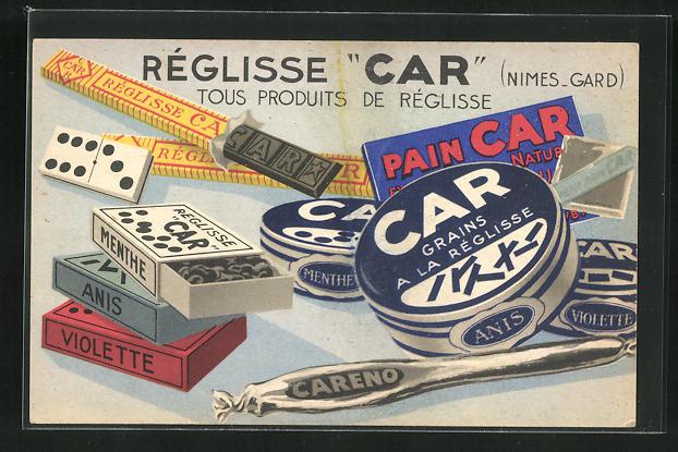 AK Reklame für Réglisse Car, tous produits de Réglisse, Lakritz 0