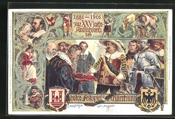 AK Rothenburg, Historische Festspiele 1905, Der Meistertrunk, Ganzsache Bayern PP 15 C 89 0