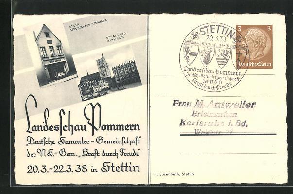 AK Stettin, Landesschau Pommern, Deutsche Sammlerschau 1938, Stralsund mit Rathaus, Ganzsache 0