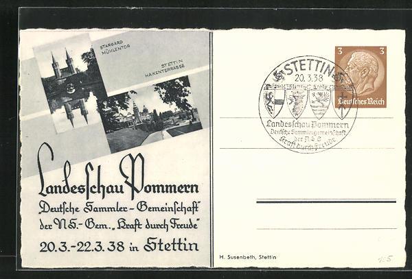 AK Stettin, Landesschau Pommern, Deutsche Sammlergemeinschaft 1938, Hakenterrasse u. Mühlentor, Ganzsache 0